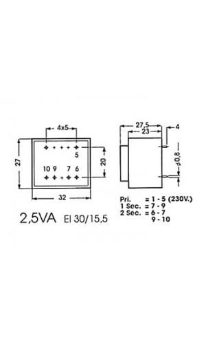 Transformador Encapsulado 2 x 12V  0,2A - Transformador encapsulado  5VA  2 x 12V / 2 x 0.209A .Ref: 2120050m