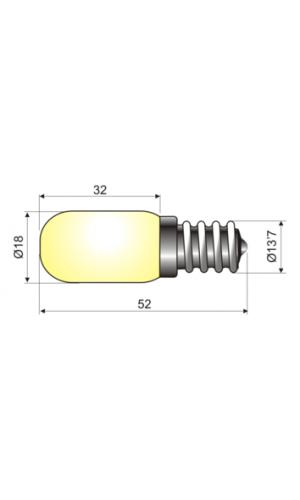 Bombilla para Neveras 220V 25W - Bombilla con rosca E14 típica para frigorificos.220V 25W.Mod.12.650/25.Ref: 12.650-25