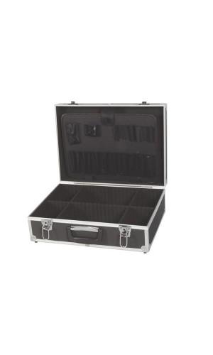 Maleta herramientas aluminio negra - Maleta de herramientas con cuadro de aluminio 455 x 330 x 152 mm - color negro.Ref: 1819-n
