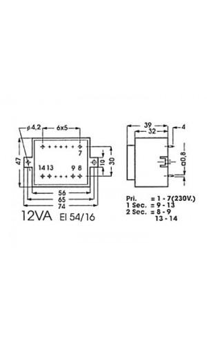 Transformador 2x9V. 0,6A.