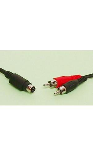 Conexión Mini Din macho 4 pin a macho 2 RCA