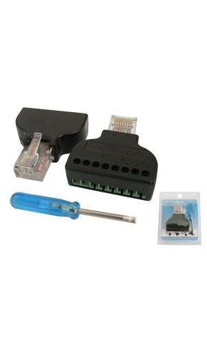 Adaptador RG45 a Terminales - Adaptador RJ45 para conectarse mediante cables a tornillo modelo cv044.Ref: 4052