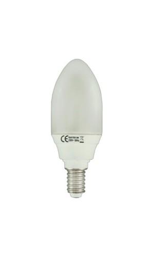 Bombilla Bajo Consumo Vela E14 9W - Bombilla bajo consumo tipo vela rosca E14 - 9W blanco cálido.Ref: 80.4209cal