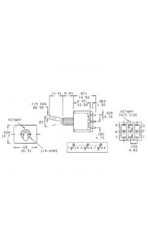 Pulsador de Palanca con Retorno C.Impreso - Pulsador de palanca ON-OFF-ON con retorno.Ref: 8307c