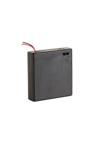 Portapilas para 4 pilas AA - Portapilas para 4 pilas tipo AA con hilos e interruptor.Ref: bh341bs