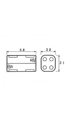 Portapilas para 4 Pilas AA - Portapila para 4 pilas tipo AA con terminales clip.Ref: bh343b