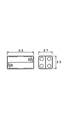 Portapilas para 4 pilas AAA - Portapilas para 4 pilas tipo AAA con terminales para soldar.Ref: bh443d