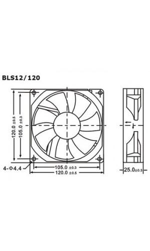Ventilador 12VDC 120 x 120 x 25mm  - Ventilador  12VDC cojinete liso 120 x 120 x 25mm.Mod.: bls12/120.Ref: bls12120