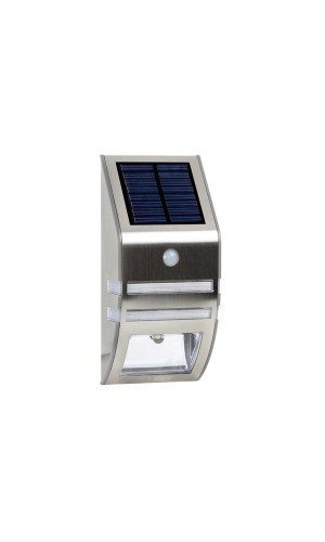 Aplique solar mural para exteriores con PIR - Aplique solar mural para exteriores en acero inoxidable + PIR 0.5 W.Ref: csol06