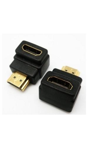 Adaptador HDMI Macho-Hembra acodado - Adaptador de calidad HDMI macho a hembra acodado,con contactos dorados.Ref: 0564