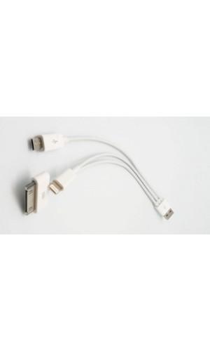 Conexión para carga (solo carga) USB a Lightning - Conexión para carga (solo carga) USB a Lightning+microUSB+ iPhone/sam 30p.Ref. 0788