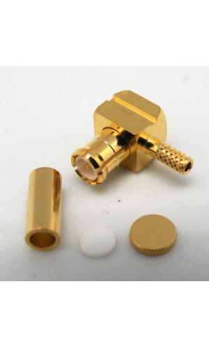Conector MCX macho crimpar RG-178U - Conector  MCX Macho crimpar para cable RG-178U acodado y dorado.Ref. 3667