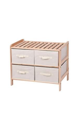 Estanteria de madera 4 cajones - Estanteria de madera  - 59 x 28 x 50.5 cm - 2 x 2 Cajones.Ref: fw1014