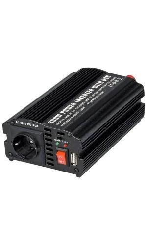 Inversor 12VDC a 220 VAC 300W+USB - Inversor Acoustic Control 12V DC  - 230 V AC 300 W con salida  USB .Ref: inverter300-usb