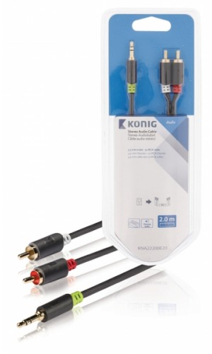 Conexión jack mini 3,5mm a 2 RCA 2 mts - Conexión HQ jack mini 3,5 mm estéreo a 2 jacks RCA macho de 2 mts.Ref: kna22200e20