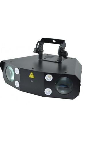 Efecto de 30 W LED RGB + laser - Efecto de 30 W LED RGB + blanco y ámbar con efecto estrobo de 4 W LED blanco y láser rojo y verde multipuntos incorporados.Ref: ledshow2000