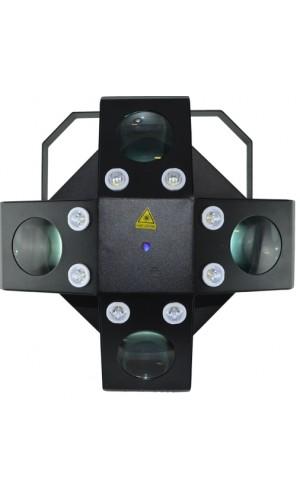 Efecto de 60 W LED RGB + laser - Efecto de 60 W LED RGB + blanco y ámbar con efecto estrobo de 8 W LED blanco y láser rojo y verde multipuntos incorporados.Ref: ledshow4000