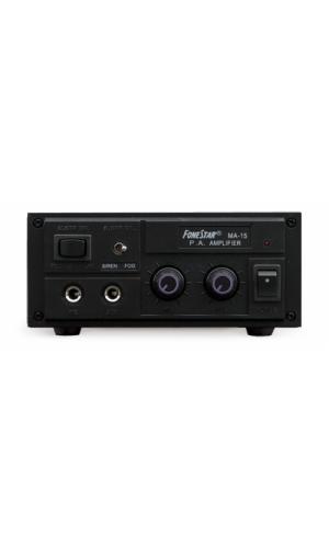 Amplificador de megafonía 10W - Amplificador de megafonía, tamaño compacto para uso en vehículos.Ref: ma15