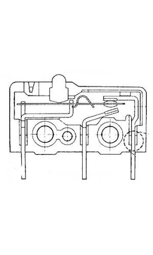 Microrruptor Subminiatura 5A - Microrruptor subminiatura de 5A sin palanquita.Ref: ms5