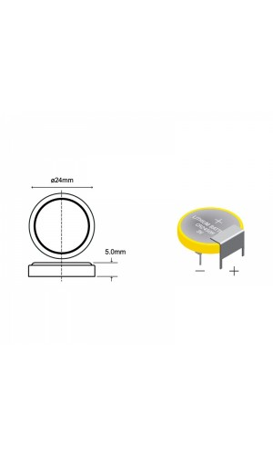Pila Litio botón CR2450H para C.Impreso - Pila Litio botón CR2450H C.I. horizontal.Ref: pli010