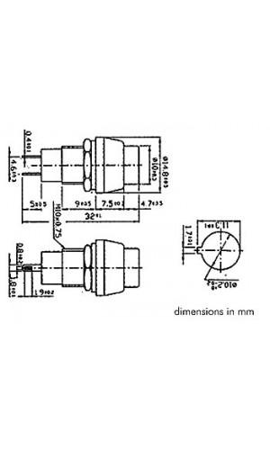 Pulsador Redondo Plateado - Pulsador OFF-(ON) - plateado.Ref: r1384a