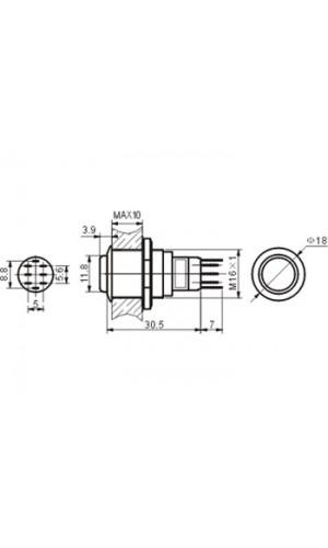 Pulsador Redondo de Metal - Pulsador redondo alto de metal DPDT 2NA 2NC.Ref: r1711