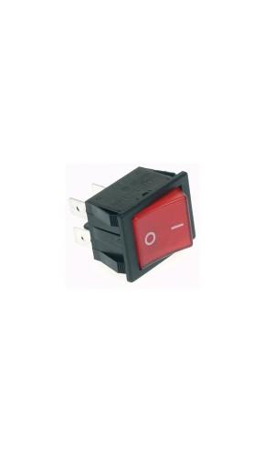 Interruptor de potencia 10A rojo - Interruptor basculante de potencia 10 A - 250 V DPST ON-OFF - tecla roja I/O.Ref: r906