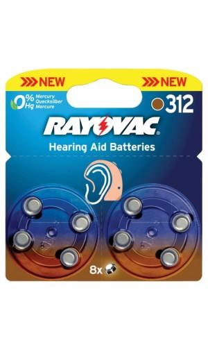 Blister con 8 Pilas para Audífono - Blister de 8 pilas para audifonos tipo 312.Ref: ray-312b-8p