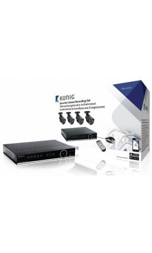 Kit de seguridad con 4 cámaras + Disco Duro 1TB - Sistema de 4 cámaras para grabación de seguridad equipado con un disco duro integrado de 500 GB.Ref: sas-ahdset04