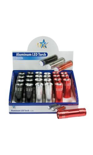 Mini Linterna con 3 Leds Ultra Brillantes - Mini linterna de aluminio con 3 leds muy potentes.Ref: torch-l-box04