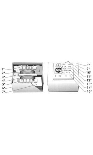 Transformador Encapsulado 2x 15V - 0,06A
