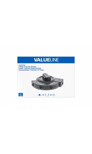 Conmutador para fibra óptica - Conmutador de audio digital de tres vías, Toslink 3x hembra - hembra, negro.Ref: vlasw2503