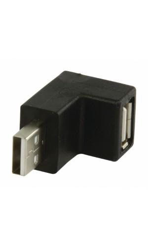 Adaptador USB 2.0 de USB A macho a USB - Adaptador USB 2.0 de USB A macho a USB A hembra en ángulo de 90° en color negro. Ref: vlcp60930b