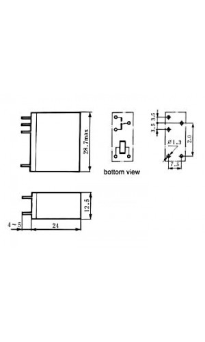 Relé vertical 12VDC - 10A - Relé vertical 10A/30VDC-220VAC,1 x inversor 12Vdc.Ref vr10v121c