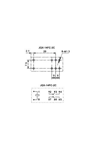 Relé 24 VDC  5A - Relé Vertical de 24 V DC de 5A/2 x inversores.Ref: vr5v242cn