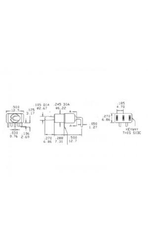 Interruptor de palanca  con retorno - Interruptor de palanca SPDT 90° horizontal con retorno,tipo pulsador. ON-(ON).Ref: 8019a
