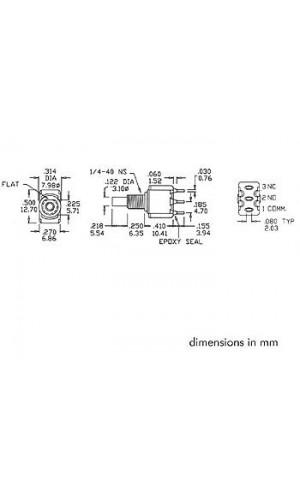 Pulsador conmutador 1A - Pulsador con contacto momentaneo vertical SPDT ON-(ON).Ref: 8701