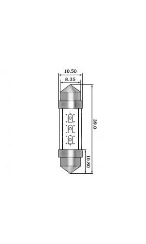 Lámpara Led de Coche 12V, 3 Leds Blancos - Lámpara Led de Coche 12V, 3 Leds Blancos  (2uds./blister) ref: acll01w
