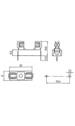 Base fusible 5 x20 circuito impreso - Portafusible para circuito impreso de 5 x 20 mm.Ref: 06.081