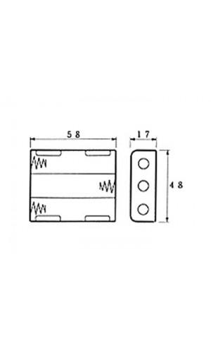 Portapilas 3 pilas AA con hilos - Portapilas para 3 pilas formato AA con hilos de 150 mm.Ref: bh331a