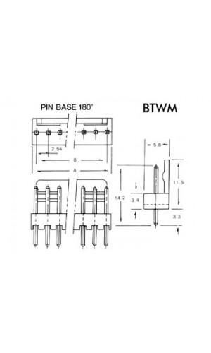 Conector para CI macho 2 contactos - Conector para ci,macho de 2 contactos. Ref:btwm2