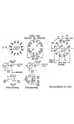 Conmutador rotativo 4P - 3 Posiciones - Conmutador rotativo 4P / 3 posiciones conexiones a soldadura.Ref: 8404-4