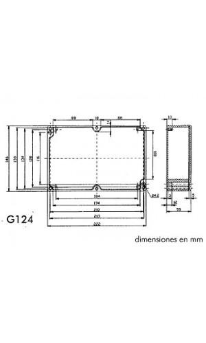 Caja aluminio estanca 222x146x55 - Caja estanca aluminio.222x146x55. Ref.G124