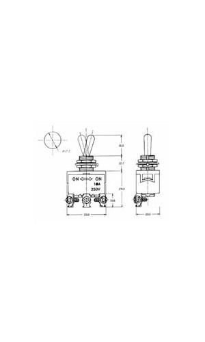 Interruptor de palanca 10A. - Interruptor de palanca  MAXI SPDT ON-ON 10A/250V.ref: js-510b