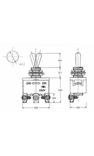 Interruptor de palanca SPDT 10W - Interruptor de palanca Maxi SPDT ON-OFF-ON 10A/250V.Ref: js-510c