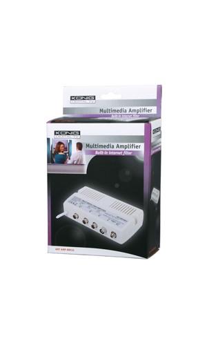 Amplificador Multimedia Konig - Amplificador Konig Multimedia con tres salidas.Idóneo para instalaciones,proveedores y plataformas de cable.Ref: ant amp-mm10