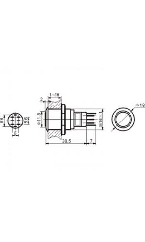 Pulsador Redondo Metal Conmutado - Pulsador redondo de metal.DPDT 2NA 2NC.Ref: r1601