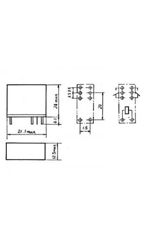 Relé 12V 2 Circuitos - Rele vertical 5A/30VDC-220VAC 2 x inversores 12Vdc.Ref: vr5v122c
