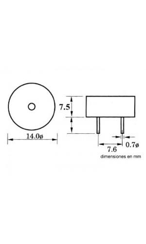 Zumbador Subminiatura 3 a 16 V DC 8 mA - Zumbador subminiatura 3-16 V DC 8 mA.circuito impreso.Ref: sv8