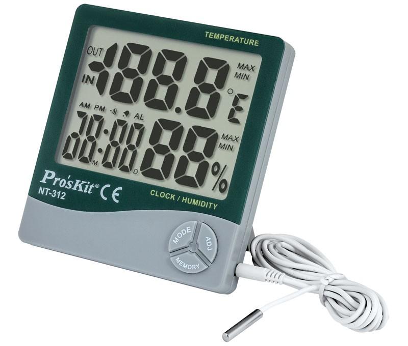 Medidor temperatura y humedad IN OUT - Medidor de temperatura y humedad para interior y exterior Proskit modelo NT-312